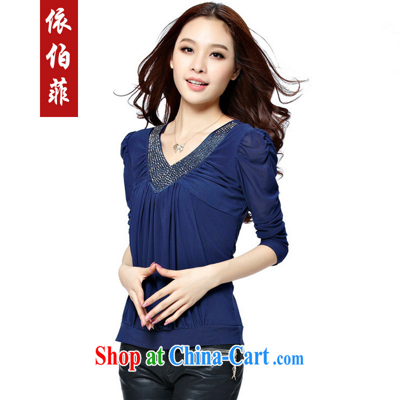 According to the Philippines fall 2014 with new thick MM and indeed XL video thin wood drill V for solid long-sleeved T-shirt T-shirt woman Y 032 blue XXL