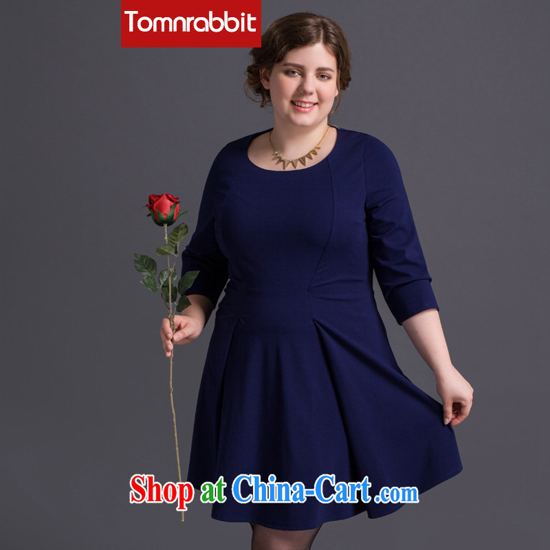 The Tomnrabbit Code women's clothing dresses new spring 2015 in Europe and America, original design thick mm beauty graphics thin 100 ground skirt Navy XXL