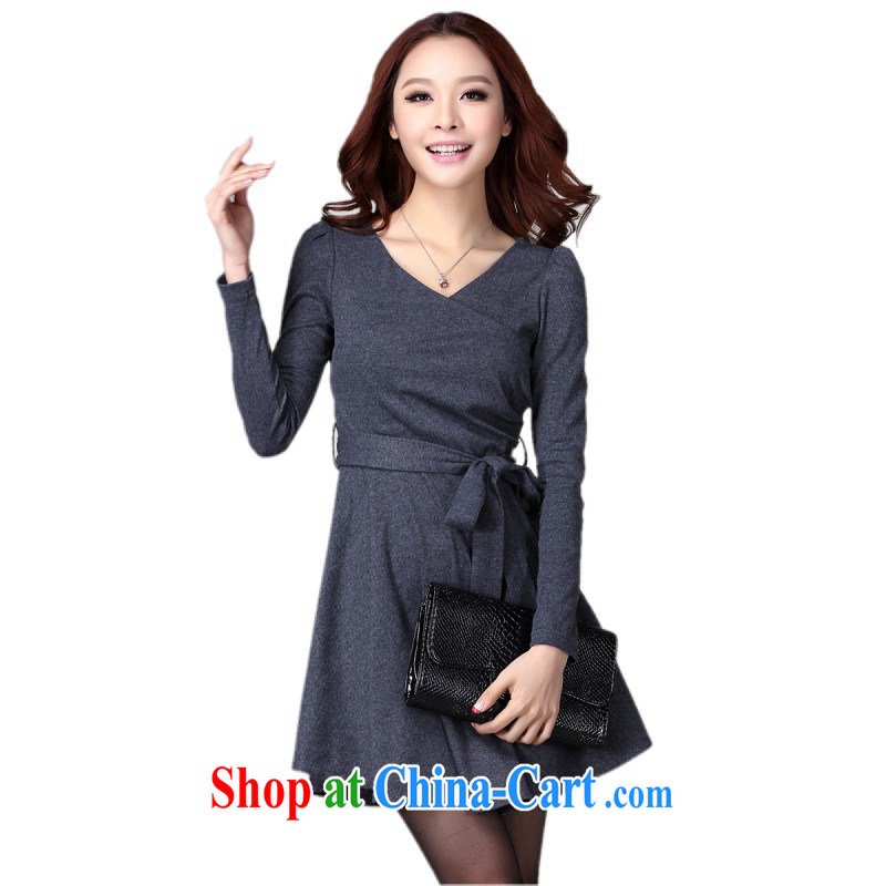 The delivery package as soon as possible by the hypertrophy, female dark dresses mature OL temperament V collar long-sleeved knitted dress the waist graphics thin, dark gray please reference brassieres Data option code