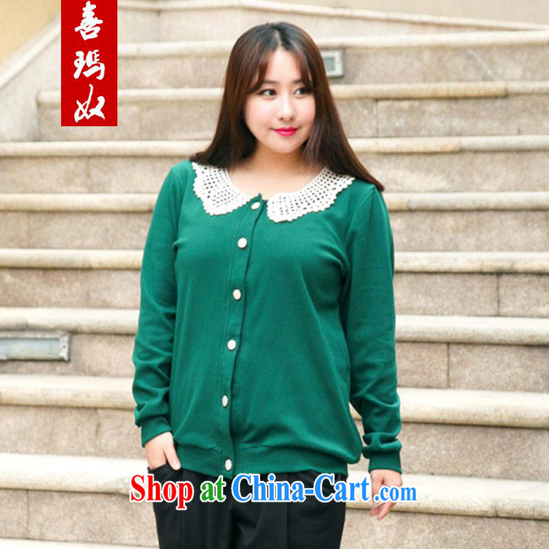 Hi Princess slave Korean thick sister larger female long-sleeved round flower collar women jacket beauty graphics thin on T-shirt T-shirt A 6789 dark green 4 XL_210 about Jack