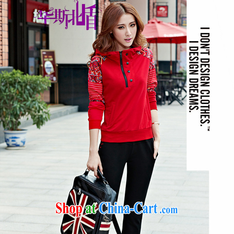 Autumn and Winter new long-sleeved double-coat sweater larger female sport and leisure package female Two-piece red XXXL