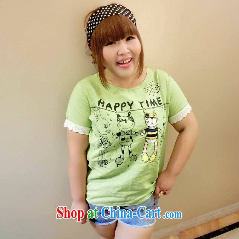Drug addiction is the code female summer a large number women 200 Jack mm thick graphics thin card cotton Ma short-sleeved 9810 green L