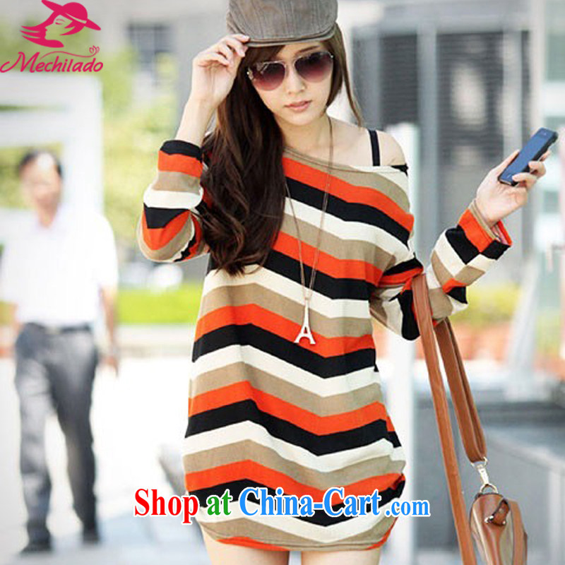 MEI QI-Flower Spring 2015 new female Korean pregnant women with the Korean version of the greater code T shirt pregnant women color wavy stripes in loose long shirt solid shirt orange loose the code