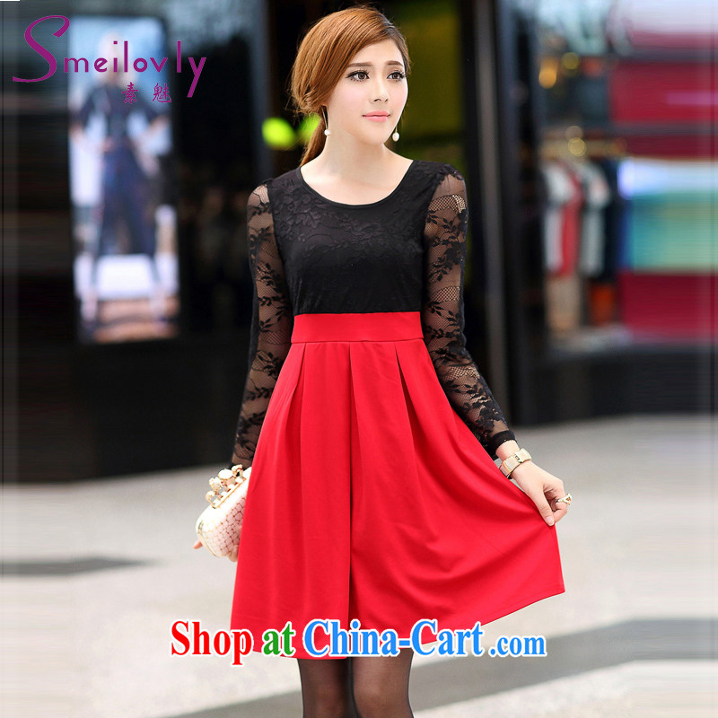 Staff of the fertilizer XL women mm thick 2014 autumn the new Korean fashion beauty video gaunt waist lace long-sleeved dresses S 2673 photo color 4 180 XL about Jack