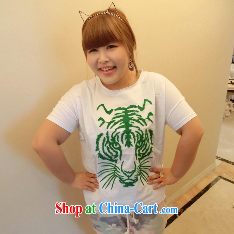 Yet the Addiction, female fat sister 2014 summer new embroidery loose bat short-sleeve T-shirt 8616 green XXXL