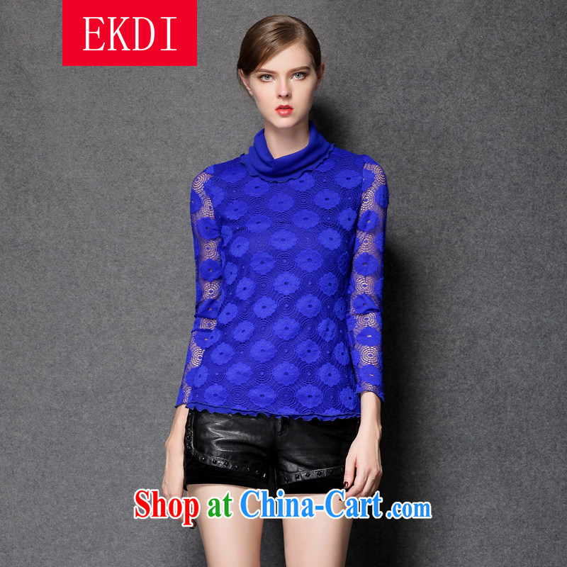 EKDI King code female thick MM 2015 spring in Europe and America, the ladies lace stitching T-shirt solid shirt ZZ 1537 blue XL _121 - 133 jack to wear_