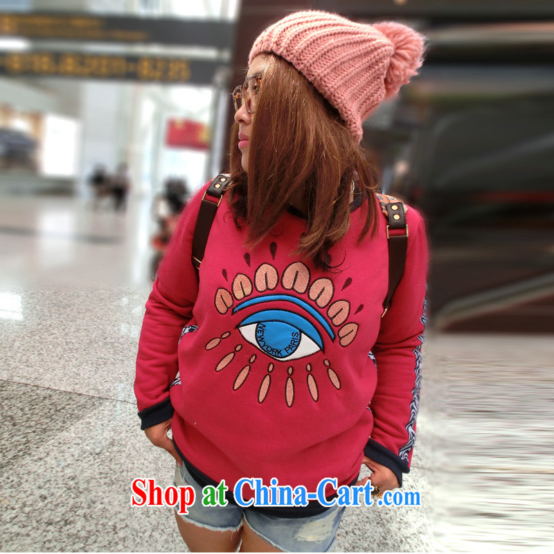 Yet the Addiction, female 2013 autumn and winter new thick sister thicken and lint-free cloth embroidered eyes autumn sweater 7519 M Uhlans on