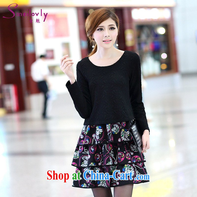 Staff of the fertilizer XL female 200 Jack mm thick load fall 2014 new leave of two long-sleeved fancy graphics thin dresses S 2667 black XXXXXL