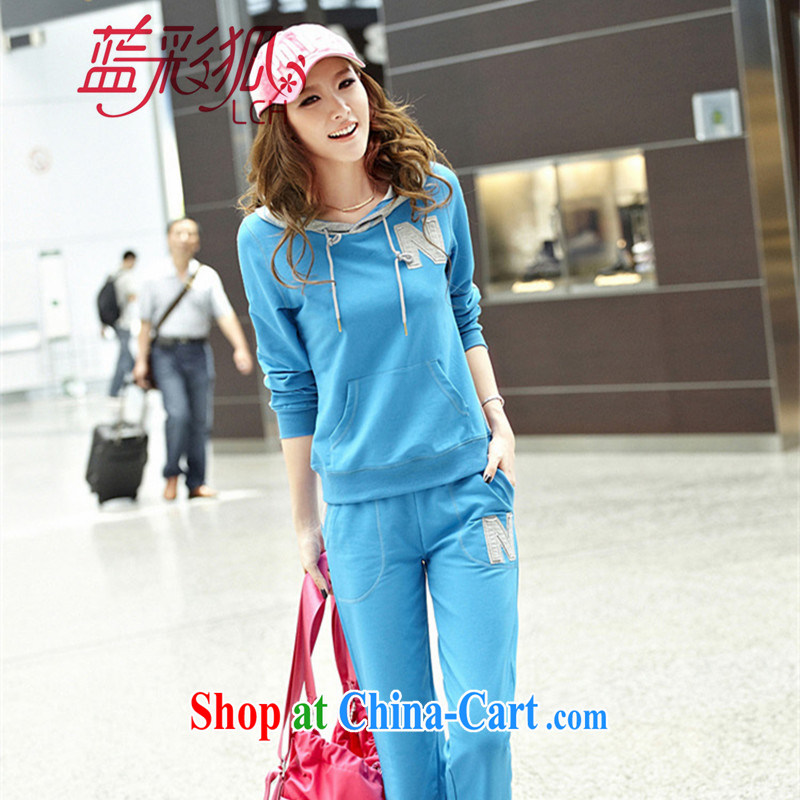 Blue Fox new Korean cap knocked color stamp letters College, leisure and stylish long-sleeved pants Sport Kits light blue XXL
