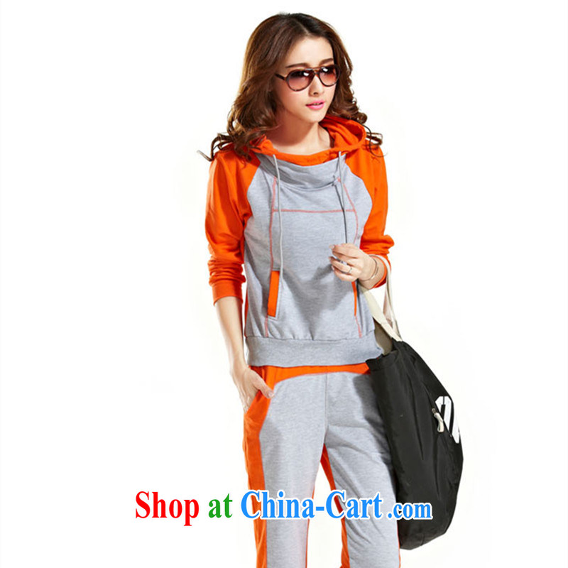 Blue Fox female spring loaded new Korean style loose larger collision color stitching sport and leisure two-piece sweater Kit orange XXL