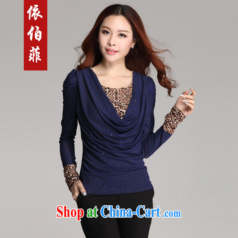 According to Queen Elizabeth , 2014 autumn and winter new thick MM and indeed increase, leave two Leopard stitching long-sleeved Web yarn solid shirt female Y 051 Po blue XXXL
