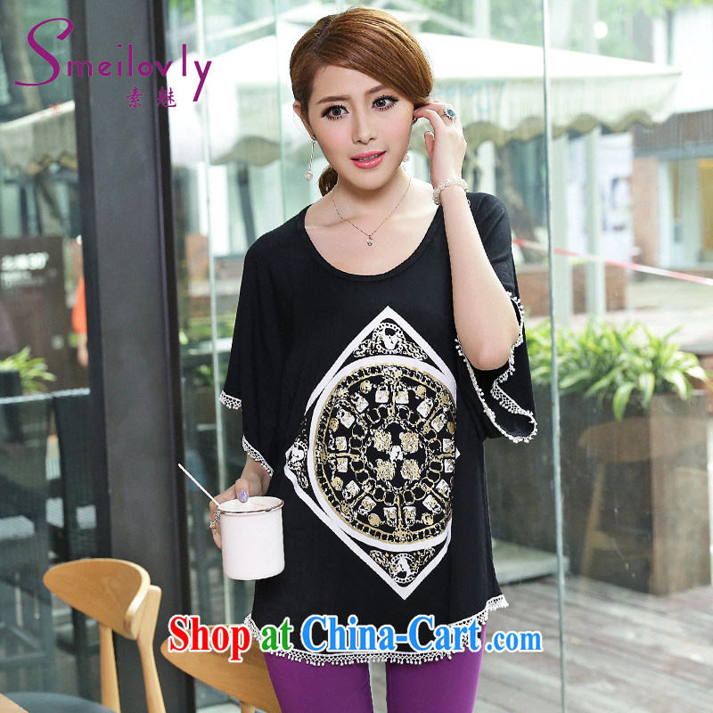 Staff of 200 jack to pass through King, female thick mm summer Korean short-sleeved stamp bat T-shirt cotton T-shirt stylish and relaxed S 1650 black XXXL 160 about Jack