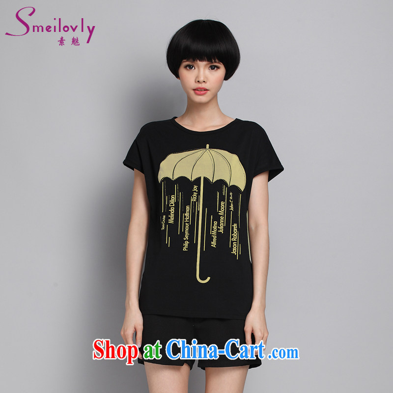 Staff of the Code's summer new, thick sister Korean fashion stamp short sleeve loose T shirts cotton S 1649 black XXL