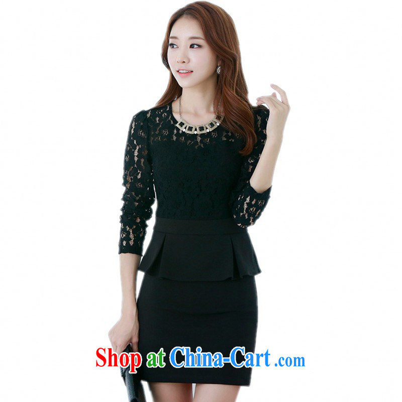 The delivery package as soon as possible e-mail Korean version 2014 new autumn the name Yuan OL lace long-sleeved A field package and short skirts XL video black 4 moonrise the refer of 3 data option, oh