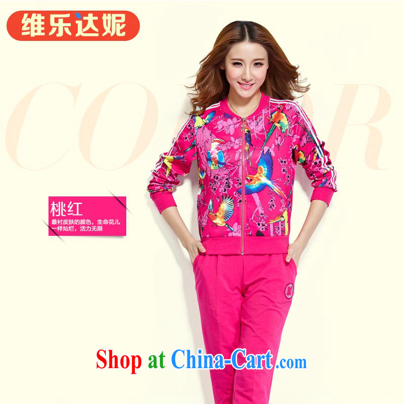 The Music of Anne early autumn new package south korea silk round-collar sport and leisure, health and clothing package the Radiant with joy peach XXXL