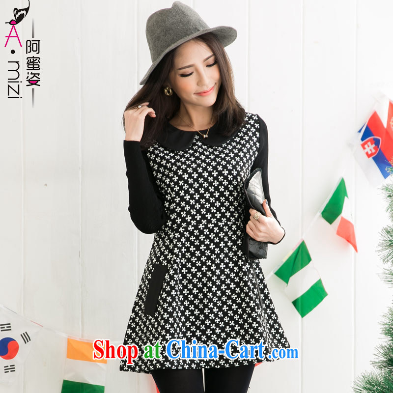 The honey autumn beauty with new thick mm larger female presence for over 4 ye take A Edition dresses women 8709 black with white flowers XXXXL