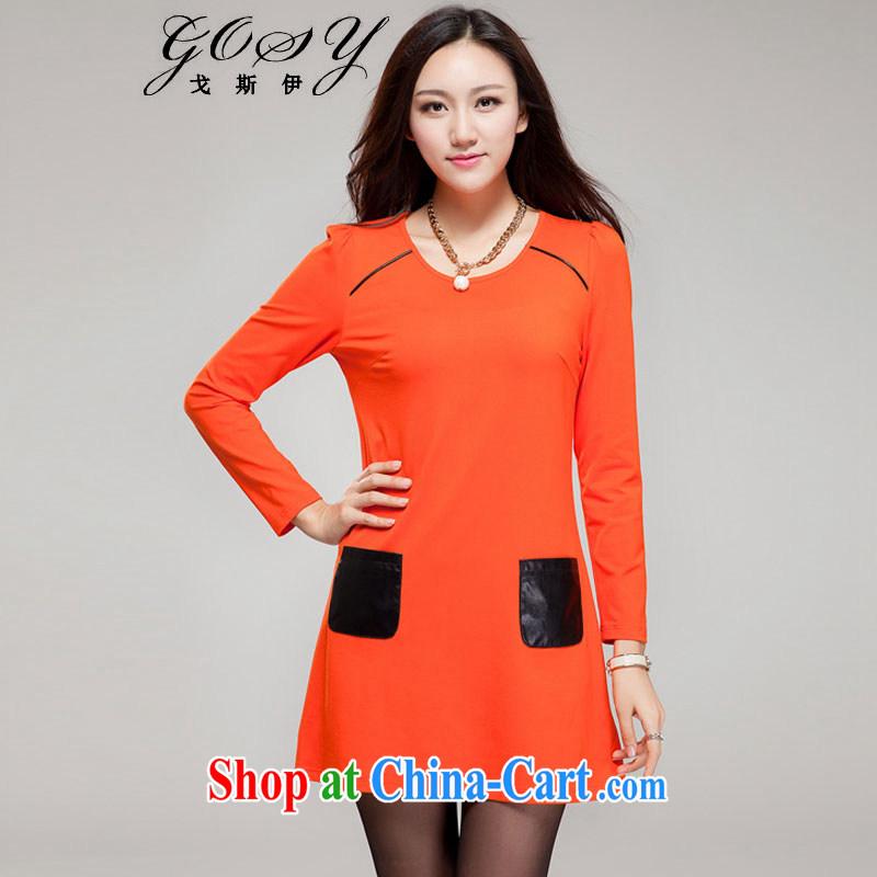 Goss (GOSY) Autumn 2014 the new, larger female round-collar hit color pocket long-sleeved dresses orange L