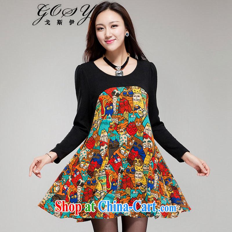 Goss (GOSY) Autumn 2014 the new, larger female import lint-free stitching long-sleeved dresses black XXXXL