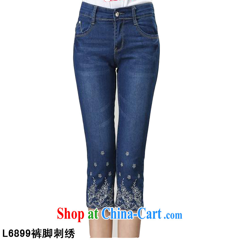 ? collective counters are, indeed the XL female thick mm sister spring and summer new Korean video thin blue jeans 7 pants, Elastic waist jeans castor L 6899 blue - pant legs embroidery 40 code _suitable for weight 180 Jack left and right_