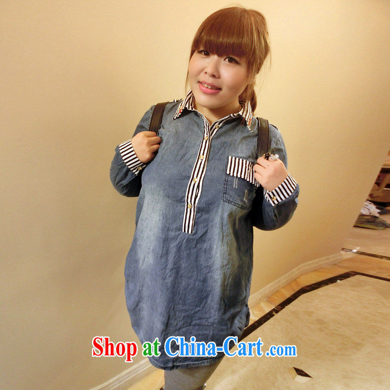 Drug addiction is the code female 200 Jack thick mm XL autumn replace badge graphics thin denim long-sleeved T-shirt 6923 blue XL