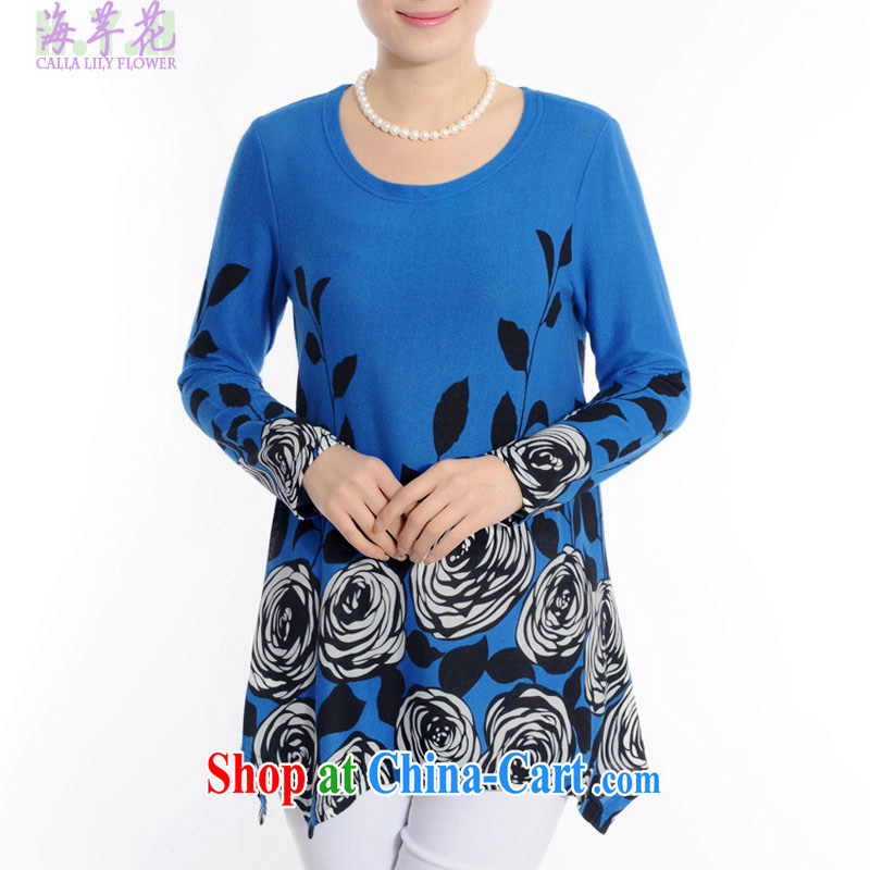 sea routes take new round-collar embossed roses large code shirt is not under the rules are loose the code ladies shirt and indeed intensify shirt, solid through 4055 - 3 royal blue 3 XL