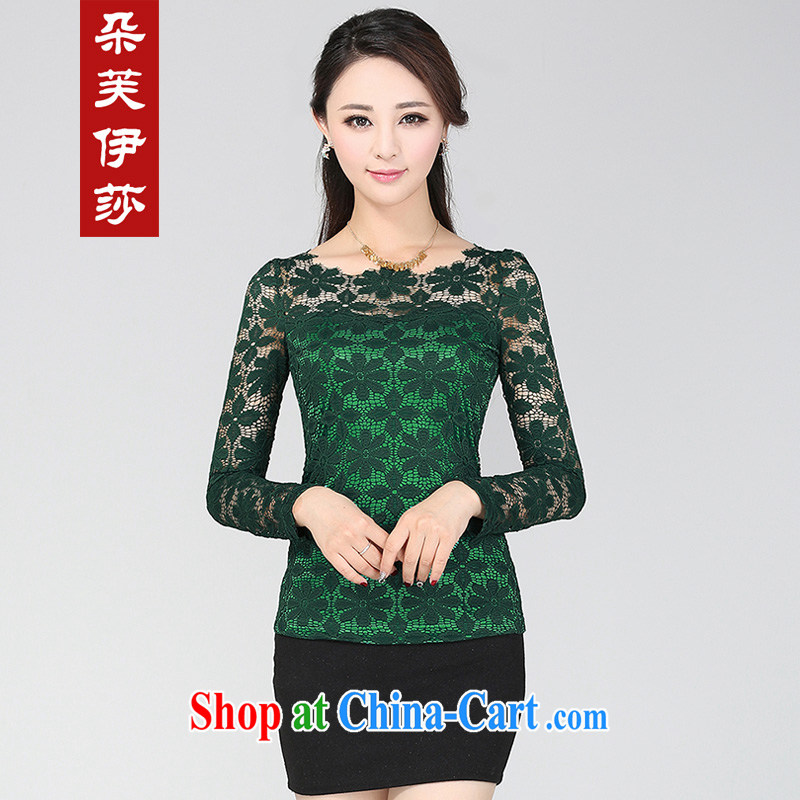flower girl Isabelle 2014 Korean version of the new, thick MM larger female beauty graphics thin lace solid shirt female long-sleeved T-shirt small D 7105 dark green 5 XL
