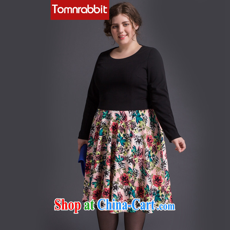 2015 Tomnrabbit in Europe and America, the female autumn new thick mm plus fertilizer and cultivating 100 hem dress black large code XXXXL