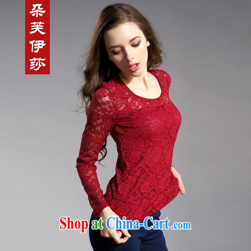 flower girl the Isabel 2014 new thick MM and indeed intensify, cultivating graphics thin Openwork lace hook take solid long-sleeved T-shirt girl D 7106 maroon 4XL