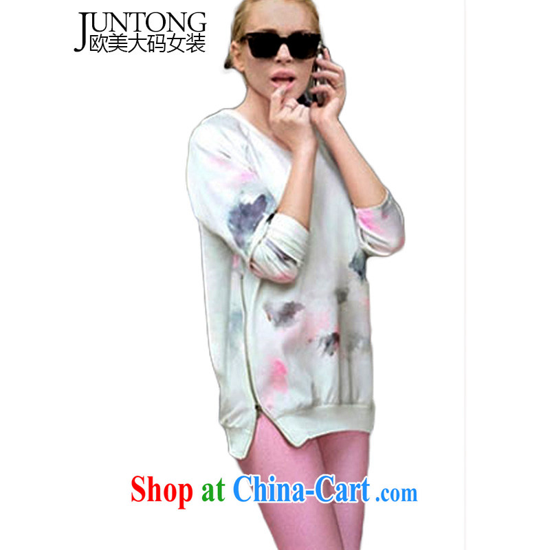 Jun 2014 the new autumn in Europe and America, the female loose sweater casual thin coat graphics thin long-sleeved large castor pants LZ 333 photo color 5 XL
