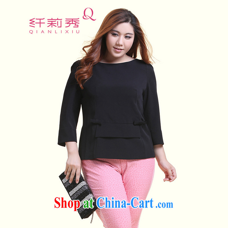 Slim Li-su 2014 autumn and winter new, larger female plain-colored sweet bow-tie-neck long-sleeved woven snow woven shirts Q 5127 black XXXL