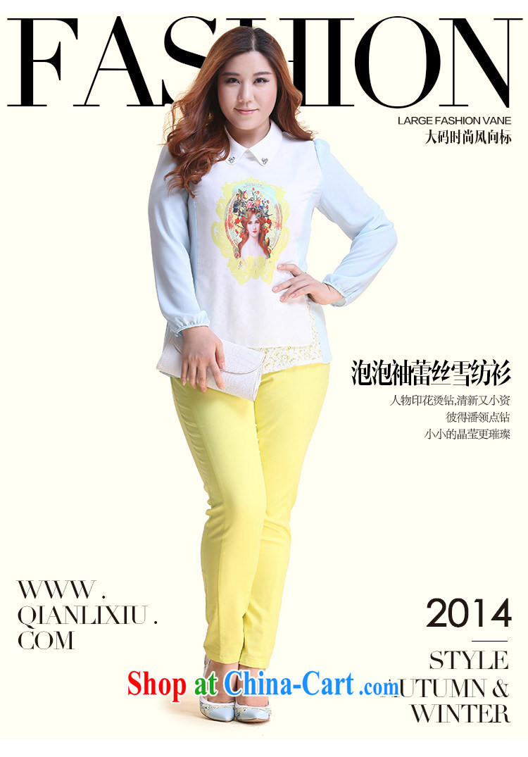 Slim LI Sau 2014 autumn new XL girls hot drill burned flower stamp duty hit  color
