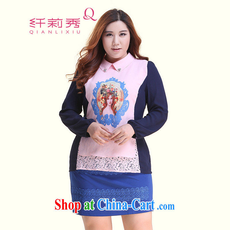 Slim LI Sau 2014 autumn new XL girls hot drill burned flower stamp duty hit color long lace snow woven shirts Q 5130 pink L