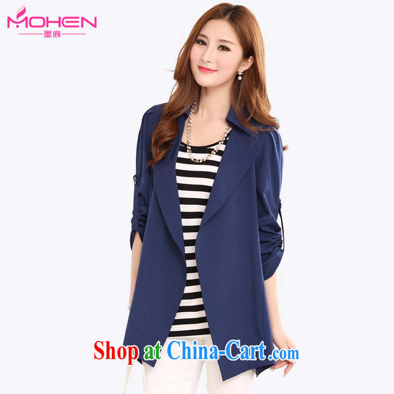 The ink marks spring 2015 the new Korean version is indeed the XL female fat sister Sau San video thin, long wind jacket 100 ground temperament lapel female jacket royal blue 3 XL _suitable for 150 - 165 jack_