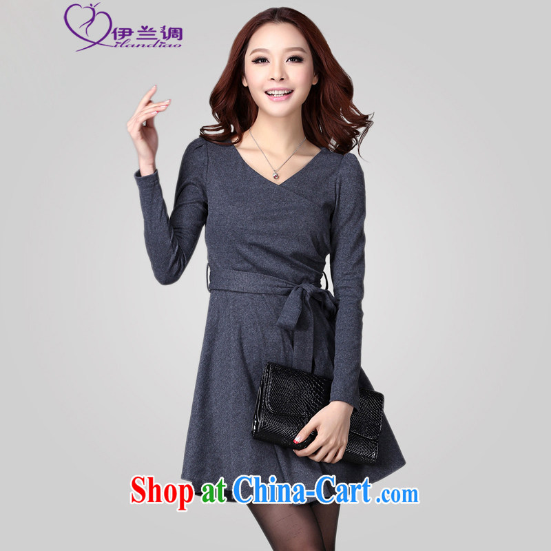 The LAN-XL fat girls with solid-colored long-sleeved ladies casual dress OL thick sister 2015 spring new Korean video thin commuter-skirt gray large XL 3 165 - 185 jack