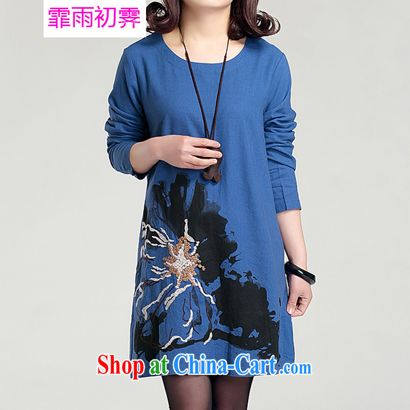Onpress International Rain underglaze early spring 2015 the new Korean version the Code women loose embroidered large flower basket the round-collar long-sleeved dresses G 872 blue XL 145 - 160 jack