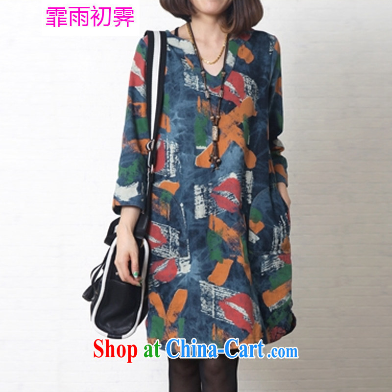 Onpress International Rain underglaze early spring 2015 New Literature and Art, the cotton dress loose the code female stamp cowboy dress G 873 photo color L