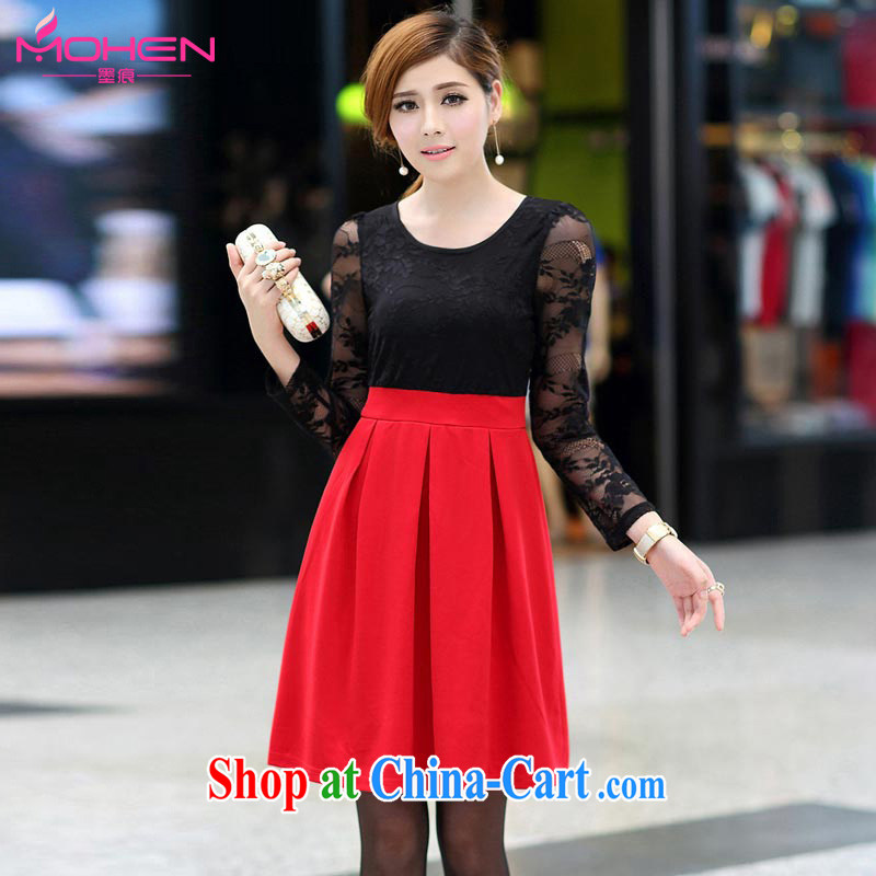 The ink marks fall 2014 with new, and indeed increase, women mm thick Korean Beauty video gaunt waist lace long-sleeved dresses knocked color lace dress black, red 5 XL _suitable for 180 - 200 jack_