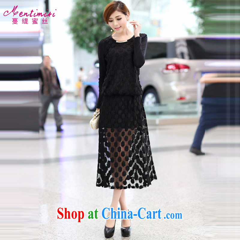 Mephidross has long honey, and indeed increase, female fat MM Load fall 2014 new long-sleeved two-piece lace shirt and body long skirt 8012 Black Large Number 4 XL