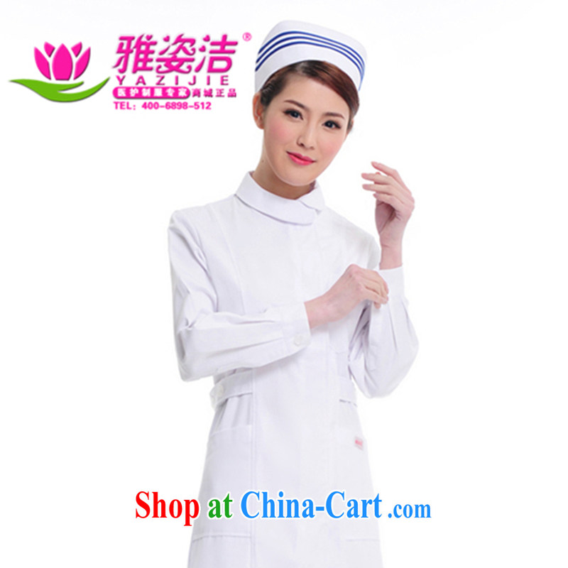 Beauty, dirty Nurses Service Warranty 5 years is not a ball small round-collar white Pink Blue green long-sleeved winter clothing robes lab beauty Pharmacy service JD 06 white M