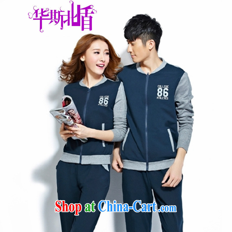 Spring men's sports package couples package Women Sports wear casual clothing, fitness suite two-piece dark blue male XXXL