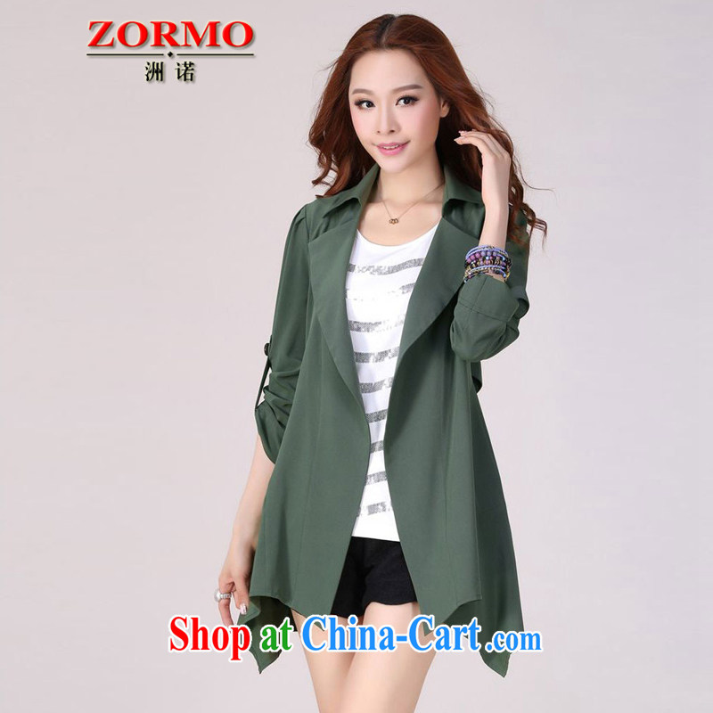 ZORMO autumn 2014 new spring loaded the Code women mm thick and fat XL cardigan dark green 5 XL