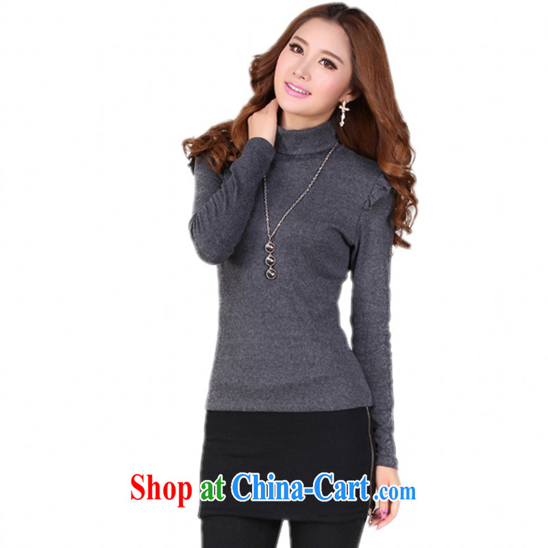 The delivery package as soon as possible e-mail female new autumn benefit from 2014 new XL solid color knit-high collar solid shirt long-sleeved sweater T shirts thick mm take gray XL approximately 120 - 140 jack