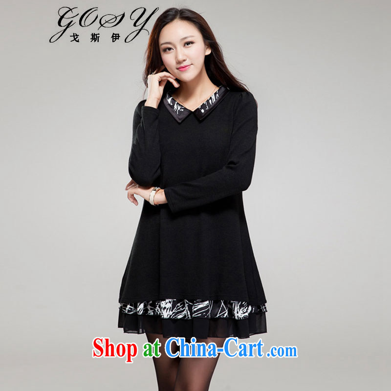Goss _GOSY_ Autumn 2014 the new, larger female import lint-free spelling lapel snow woven bubble long-sleeved dresses black XXXL