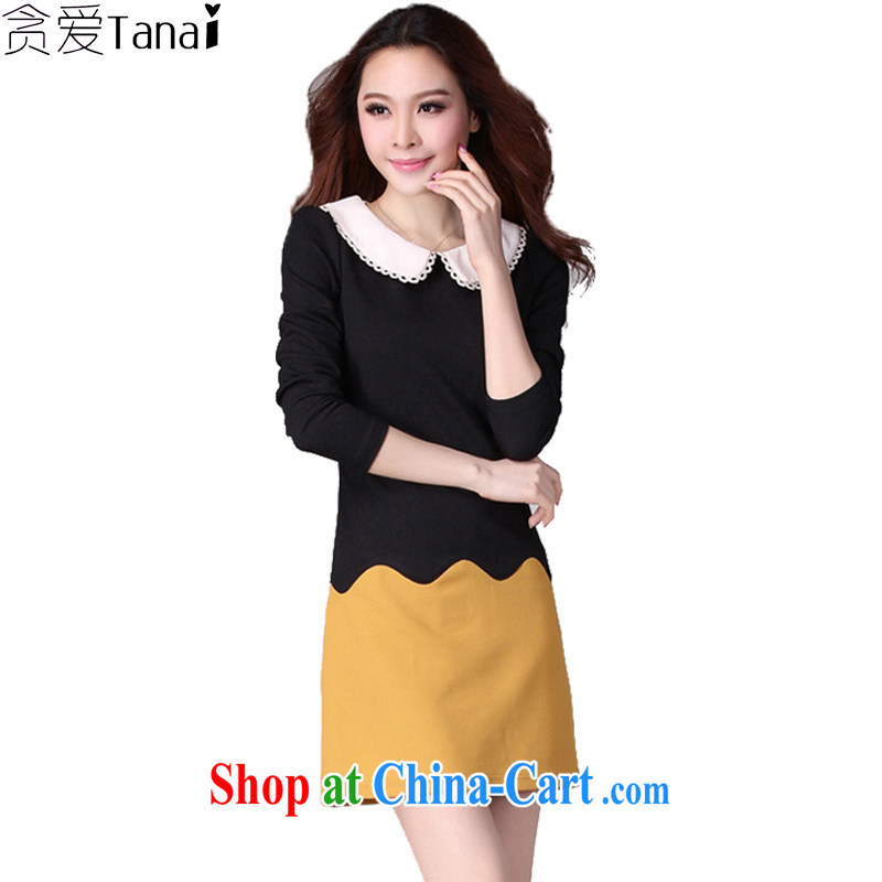 Loved spring new Korean OL commute knocked color thick, and indeed increase, female video thin long-sleeved dresses 2036 yellow XXXXL