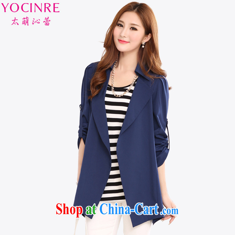 too wide ballet Tsai (YOCINRE) the code female autumn new, long, snow beauty woven English wind loose video thin cardigan jacket 11,122 royal blue 5 XL recommendations 175 - 190 jack