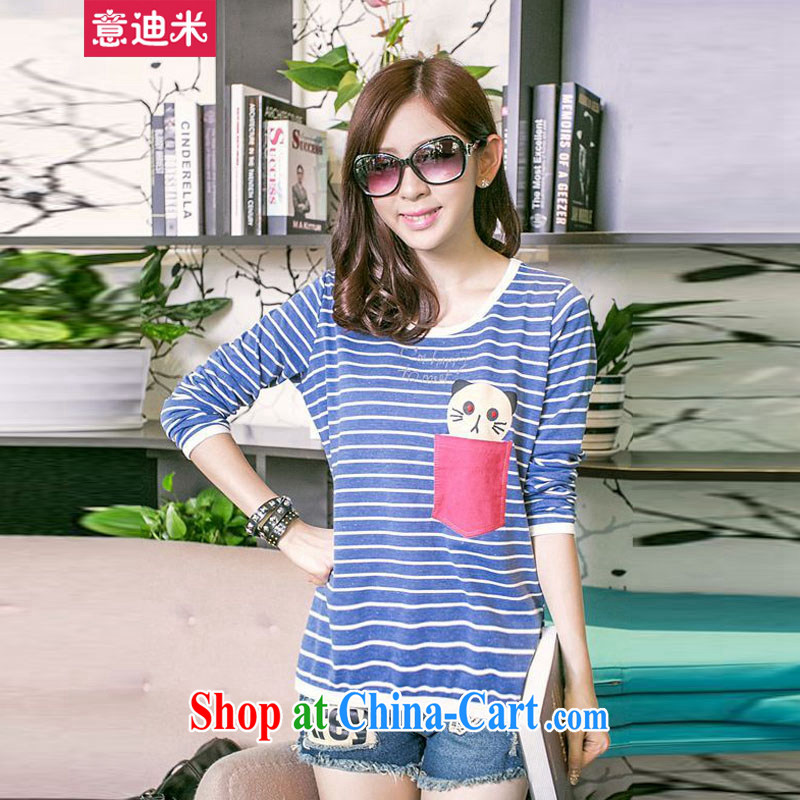 It's Korean version 2015 new sweater new stamp streaks loose video thin long-sleeved shirt T larger female P 2 - 861 blue XXXL recommended Jack 155 to 165