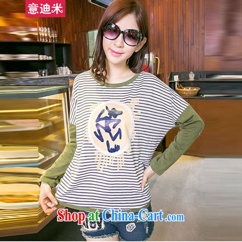To achieve M 2015 new larger female female Korean liberal streaks bat sleeves long-sleeved T-shirt P 2 - 868 army green XXXL recommendations through 160 to 180 jack