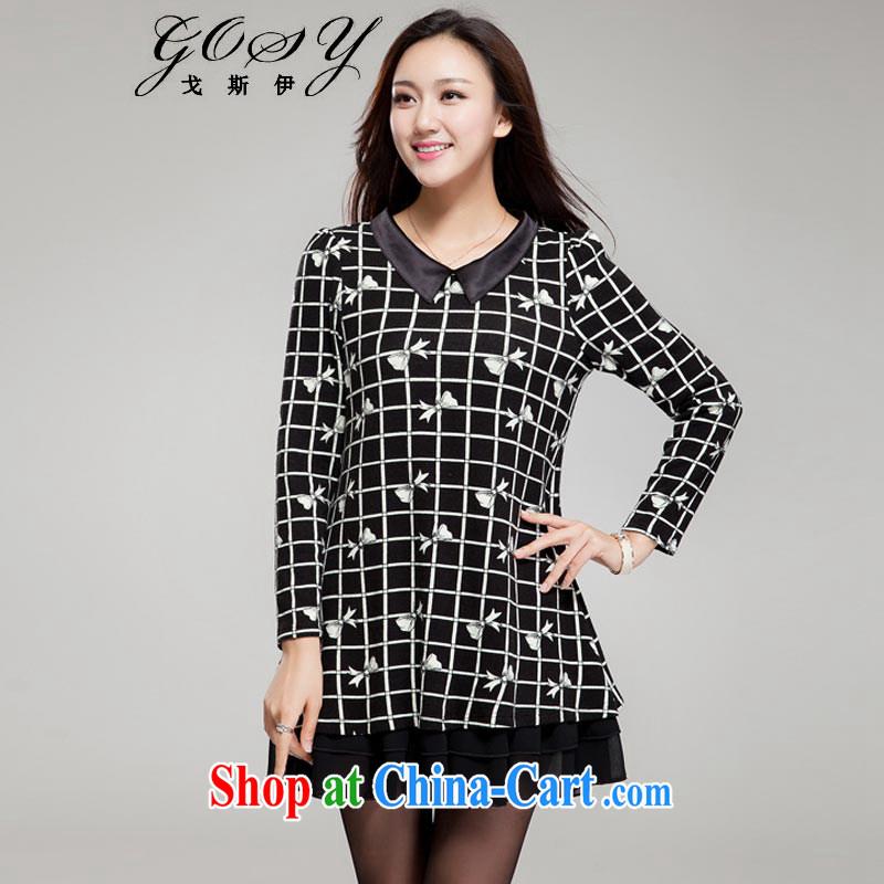 Goss (GOSY) Autumn 2014 the new, larger female import lint-free cloth roll collar long-sleeved dresses black XXXXL