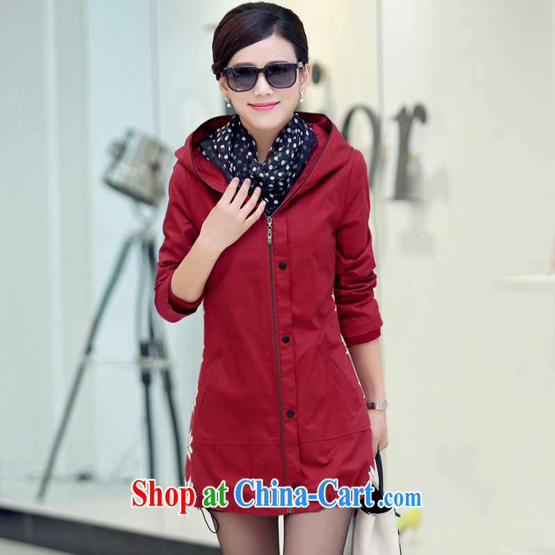 To Yi Sha 2015 spring new, long, loose the code thick MM cap wind jacket QYBL 629 wine red 3 XL