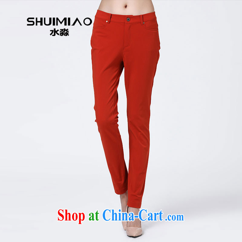 Water with the Code fall and winter NEW GRAPHICS thin trousers 2014 Korean female thick mm leisure pants S QW 14 3476 Red Orange 3 XL